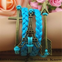 Eiffel Tower Cross Arrow 5 Layers Blue Handmade MultiLayered Bracelet BDP0529