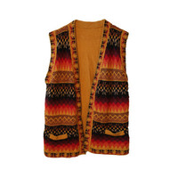 Aztec Southwestern Boho Earth Toned Vest featuring Cute Pockets on the Front