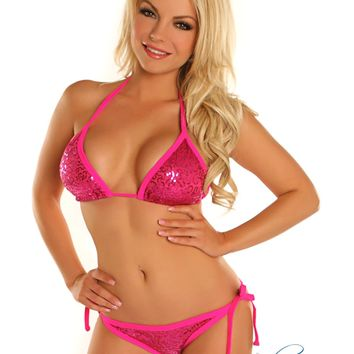 Fuchsia Sequin Pucker Back Bikini