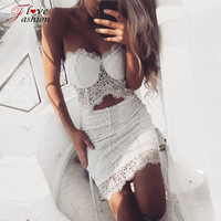 Embroidered Crochet Vintage Floral White Feather Lace Dress Women Beach Boho de Renda Two Piece Outfits