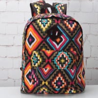 Geometry Ethnic Boho School Backpack Daypack Travel Bag