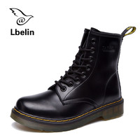 Women Boots Doc Martins 2017 British Dr Martins Vintage Classic Genuine Martin Boots Female Thick Heel Motorcycle Women's Shoes