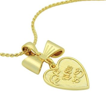 "Gold Heart Necklace Engraved with ""Lil Sis"", Gold Bow Necklace Sister Heart Necklace"
