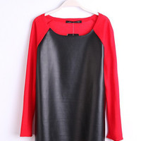 Long Sleeve Leather Knitted T-shirt
