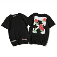 OFF WHITE  Cotton Short Sleeve Summer T-shirts [11501029964]