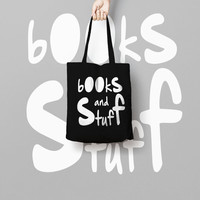 Books And Stuff Black Tote Bag Funny Typhography Totes - Quote Tote Bag - Market Bag Canvas - Printed Tote Bag Hand Drawn - Quote Tote Bag