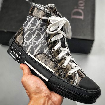 Dior Women Men Sneakers transparent plastic High Top Shoes Black