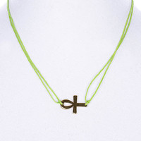 NECKLACE / LINK / CORD / METAL / EGYPTIAN CROSS / 2/3 INCH DROP / 18 INCH LONG / NICKEL AND LEAD COMPLIANT