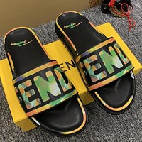 FENDI new men and women couple slippers fashion casual trend one-word slippers