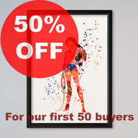 Wonder Woman FRAMED Watercolor Print Wall Decor Fine Art Giclee Print Poster Home Decor Wall Hanging DC Comics Princess Diana of Themyscira