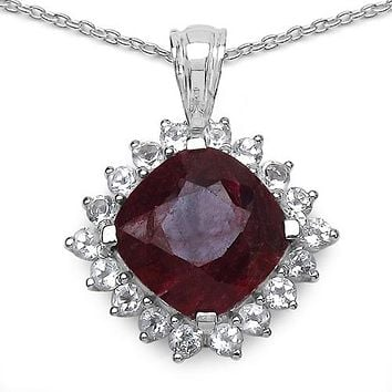 A 9CT Cushion Cut Natural Red Ruby White Topaz Pendant Necklace