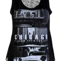 Chicago Print Casual Vest Top / Black - Womens Clothing Sale, Womens Fashion, Cheap Clothes Online | Miss Rebel