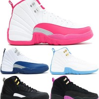 2016 Air 12 Retro GG(GS) valentine's day French Blue Melo the master Kings Women Cheap Basketball Shoes Retro 12 XII AAA Quality With Box