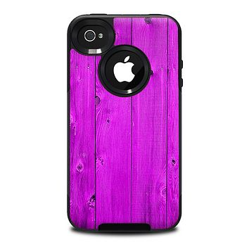 The Purple Highlighted Wooden Planks Skin for the iPhone 4-4s OtterBox Commuter Case
