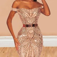 New Rose Gold Geometric Glitter Off Shoulder Backless Sparkly Bodycon Birthday Party Mini Dress