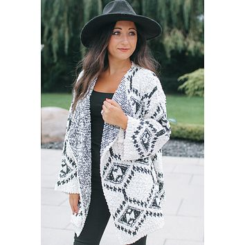 Aztec Print Draped Knit Cardigan