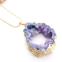 Amethyst Druzy Necklace, Purple Hollow Center Druzy Pendant Necklace, Crystal Agate Gold Chainmaille Necklace, Gold Edged Druzy Slice