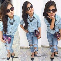 Summer fashion trend Girl's clothing set child denim set children Clothes 100%cotton euro style baby long sleeve shirts+jeans