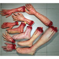 Halloween Horror Props Bloody Hand Haunted House Party Decoration Scary Fake Hand Finger Leg Foot Brain Heart Halloween Supplies