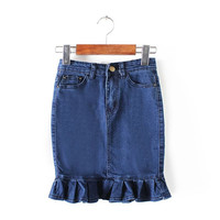Summer Women's Fashion Rinsed Denim Ruffle Denim Skirt [4920256964]