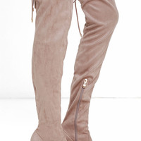 Stunning Steps Khaki Suede Over the Knee Boots