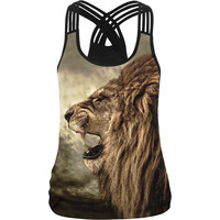 Cool ! Lion Print Women Camisole 10 Styles 3D Printed Black White Sexy Vest Female Casual Fitness Gyms Elastic Harness Tank Tops