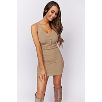 Very Outgoing Ribbed Bodycon Dress (Taupe)