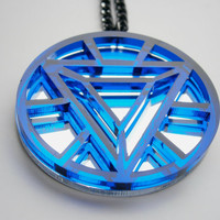 Sale 30% - Iron Man Necklace -Heart Arc Reactor -  Laser Cut Transparent Blue  Acrylic  and Mirror Plastic