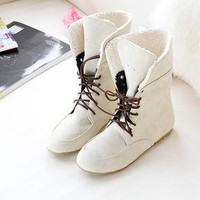 Free shipping Women Girls Fashion Style Lace Up Winter Boots Flat Ankle shoes