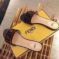 FENDI Logo-flocked Velvet Slides