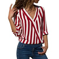 Extreme Red Stripes Chiffon Large Size Shirt Long Sleeves Soft