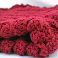 double strand burgandy crochet baby blanket, textured photo prop