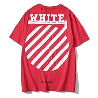 OFF-WHITE New fashion letter arrow print couple top t-shirt Red