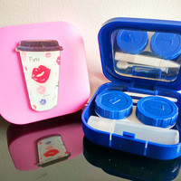 Pocket Mini Contact Lens Case Travel Kit Easy Carry Mirror Container Box Holder