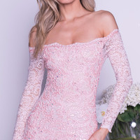 SONYA LACE DRESS IN BLUSH