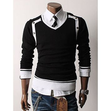 Mens Jumper Pullover Tops Men Sweaters Knitwear Casual Slim Fit Splice V-neck Knitting Sweater 261