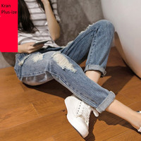 New 2016 Spring Plus Size Women Jeans trousers Cut Out Ripped  high waist denim Hole jeans ankle-length Pencil Pants XXXXL 9970