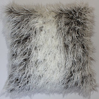 Curly Llama Ivory Grey Faux Fur 18 x 18 in. Throw Pillow - 1pc