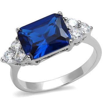 Simple Rings 3W1367 Rhodium Brass Ring with Synthetic in London Blue