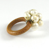 Pearl Ring, Leather Ring, Wedding Party Ring