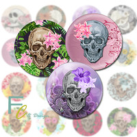 """Skull and Flowers 1.5"""" Circles, Printable Digital Collage Sheet, Shabby Skulls, Craft Supplies, Jewelry Making, Decoupage, Pendants, Magnets"""