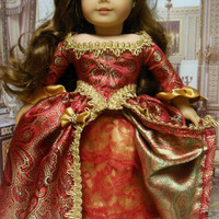 """Historical American girl doll clothes """"Scarlet Elegance"""" (18 inch doll) 1700s evening gown, revolutionary, Marie Antionette,  Elizabethan"""