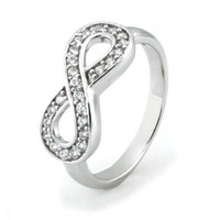Sterling Silver Infinity Ring w/ Cubic Zirconia - Available Size: 4, 4.5, 5, 5.5, 6, 6.5, 7, 7.5, 8, 8.5, 9, 9.5, 10: Jewelry: Amazon.com