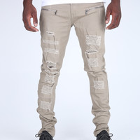 The Guile Destroyed Biker Pant in Taupe