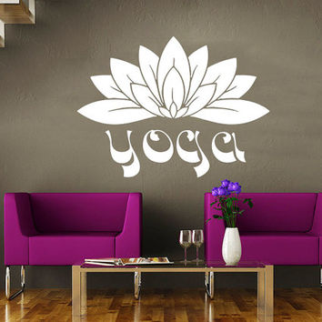Wall Decal Yoga Namaste Vinyl Sticker Decals Art Home Decor Mural Mandala Ornament Indian Geometric Moroccan Pattern Lotus Flower Om #20