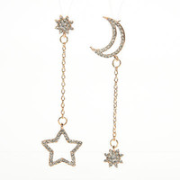 Small Fresh Snowflake Tassel Long Section Earrings For Women Women Stars Moon Asymmetrical Stud Earrings SM6