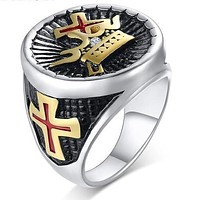 Knights Templar Cross And Crown Ring