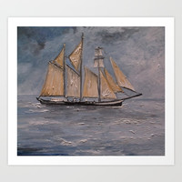 Tall Ship in Boston Art Print by RokinRonda