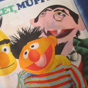 Vintage Sesame Street Muppets Pillowcase The Count Big Bird Cookie Monster Oscar Grover Kid Bedding Craft Fabric Clean Used