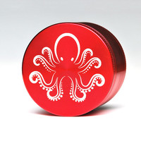 Topboro Herb Grinder - 4 Piece Red Octopus Grinder